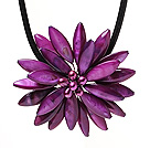 Classic Natural Purple Series Freshwater Pearl Shell Flower Party Necklace With Black Leather