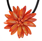 Classic Natural Orange Series Freshwater Pearl Shell Flower Party Necklace With Black Leather