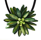 Classic Natural Green Series Freshwater Pearl Shell Flower Party Necklace With Black Leather