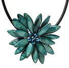 Classic Natural Bluish Green Series Freshwater Pearl Shell Flower Party Necklace With Black Leather