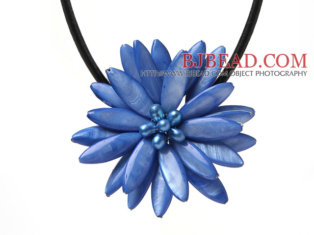 Classic Natural Sky Blue Series Freshwater Pearl Shell Flower Party Necklace With Black Leather
