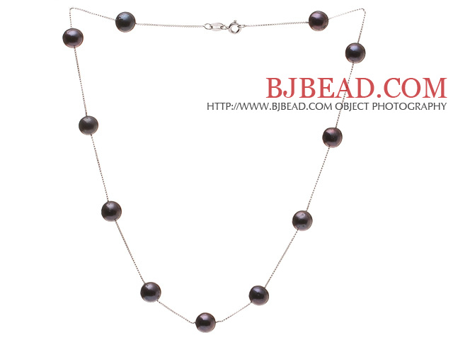 High Quality Single Strand 8-9mm Natural Black Freshwater Pearl Necklace With 925 Sterling Silver Chains (No Box)