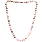 Fashion A Grade 8-8.5mm Natural Multi Color Freshwater Pearl Beaded Necklace (No Box)