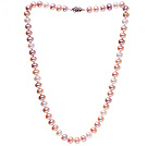 Fashion 8-9mm Natural White Pink And Purple Freshwater Pearl Beaded Necklace (No Box)
