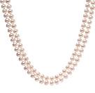 Elegant Long Design 9-10mm Natural White Freshwater Pearl Beaded Necklace
