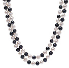 Elegant Long Design 8-9mm Natural Black And White Freshwater Pearl Beaded Necklace
