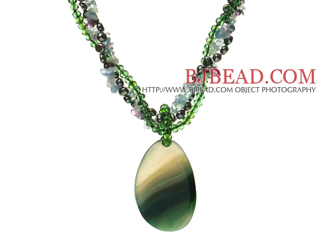 Nice Multi-Strand Twisted Green Series Pearl Crystal Rainbow Fluorite Necklace With Large Agate Pendant