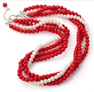 Fashion 4/Four Strands Round Red Coral And White Freshwater Pearl Beaded Necklace