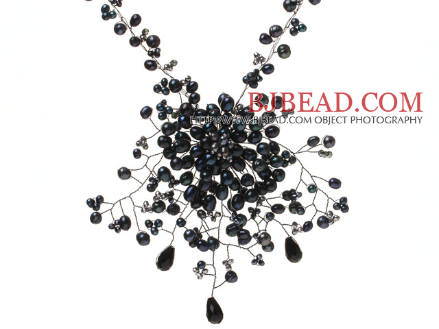 Lovely Wired Crochet Black Series Freshwater Pearl Crystal Flower Pendant Necklace