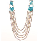 Fashion Multi Strands Link Style White Freshwater Pearl Blue Jade And Hollow Agate Beads Necklace