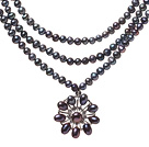 Fashion Three-Strand Natural Black Freshwater Pearl Zircon Pendant Necklace