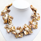 Beautiful Yellow Series 9 Pearl Shell Flowers Leather Necklace