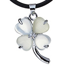 Fashion Inlaid White Heart Shape Cats Eye Four Leaf Clover Zincon Pendant Necklace With Black Leather