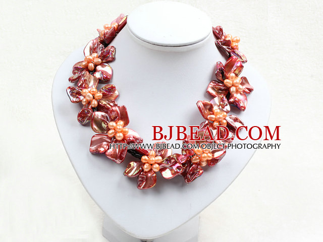Beautiful Orange Series 9 Pearl Shell Flowers Leather Necklace