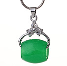 Lovely Hollow Green Malaysian Jade Zircon Pendant Necklace With Metal Chains
