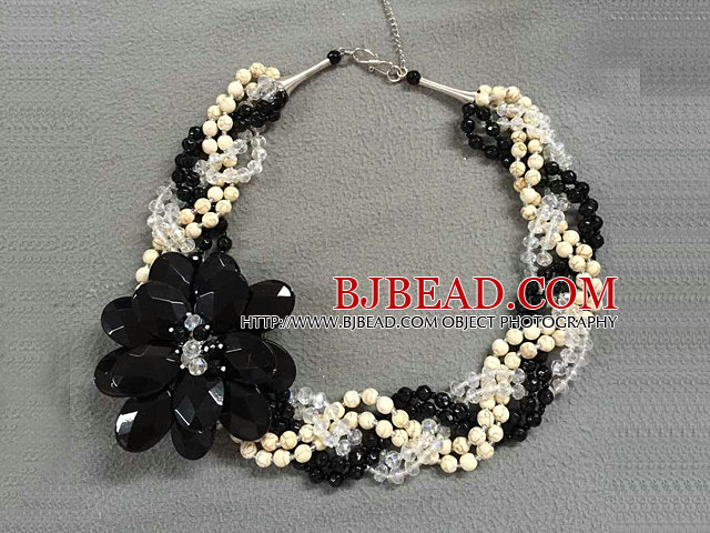 Elegant Multi Strand Natural White Howlite Clear & Black Crystal Flower Twisted Necklace