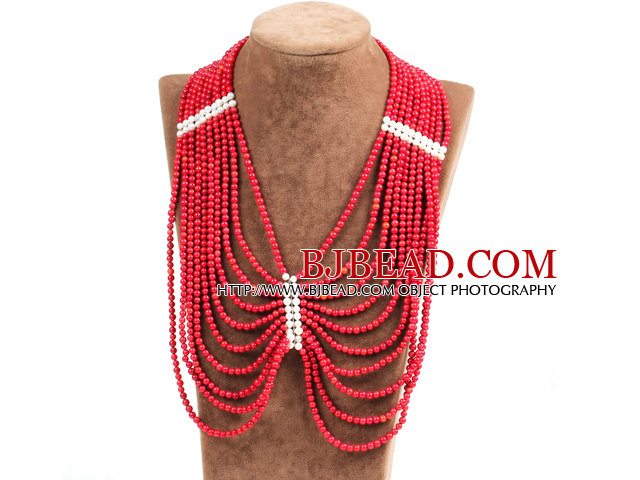 Splendid Statement Multi Strand Red Coral Beads African Wedding Necklace