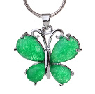 Lovely Butterfly Shape Green Inlaid Teardrop Malaysian Jade Pendant Necklace With Metal Chain