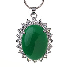 Lovely Inlaid Oval Shape Green Malaysian Jade Zircon Pendant Necklace With Metal Chain