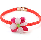 Lovely Pink And Rose Acrylic Flower Choker Necklace With Orange Leather