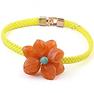 Lovely Single Orange Acrylic Flower Choker Necklace With Yellow Leather