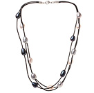 Fashion Multi Strand Multi Color 10-11mm Natural Freshwater Pearl Necklace With Black Leather