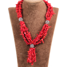 Nice Y Shape Bright Red Coral Chips Necklace with Alloyed Ball Accessory