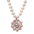Fashion Natural White Freshwater Pearl Strand Necklace With Pink Pearl Rhinestone Flower Pendant (No Box)