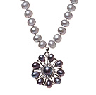 Fashion Natural Gray Freshwater Pearl Strand Necklace With Dark Purple Pearl Rhinestone Pendant (No Box)