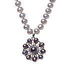 Fashion Natural Gray Freshwater Pearl Strand Necklace With Dark Purple Pearl Rhinestone Pendant (No Box)
