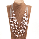Beautiful Natural White Freshwater Pearl And Crabstick Shape Red Stone Strand Necklace (No Box)