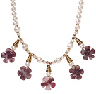 Pretty Natural White Freshwater Pearl And Purple Jade Flower Pendant Necklace With Gold Charms