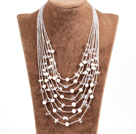 Graceful Multi Strand Irregular Shape Clear Crystal Natural White Freshwater Pearl Party Necklace