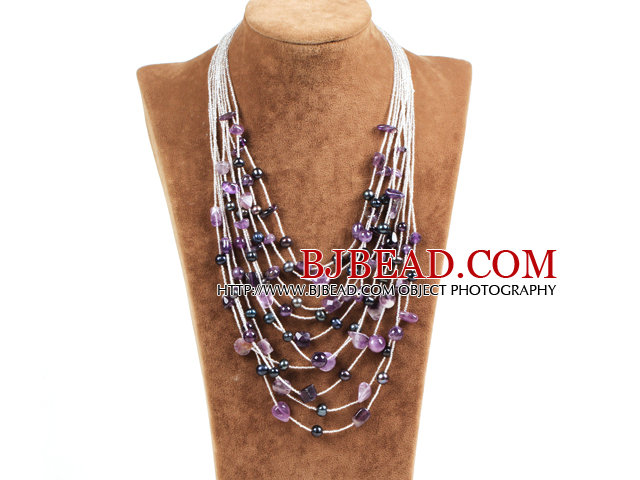 Graceful Multi Strand Irregular Shape Amethyst Natural Black Freshwater Pearl Party Necklace