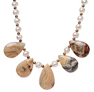 Beautiful Natural White Freshwater Pearl And Nut Shape Banded Agate Strand Necklace With S Clasp
