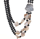 Fashion Three Strands Natural Black Freshwater Pearl And White Shell Necklace With Flower Clasp