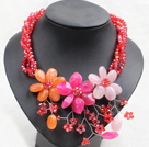Graceful Mutli Strand Bright Red Crystal Beads Multi Color Flower Party Necklace under $ 14
