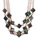 Fantastic Multi Strands Natural White Freshwater Pearl And Rhombus Shape Abalone Shell Necklace