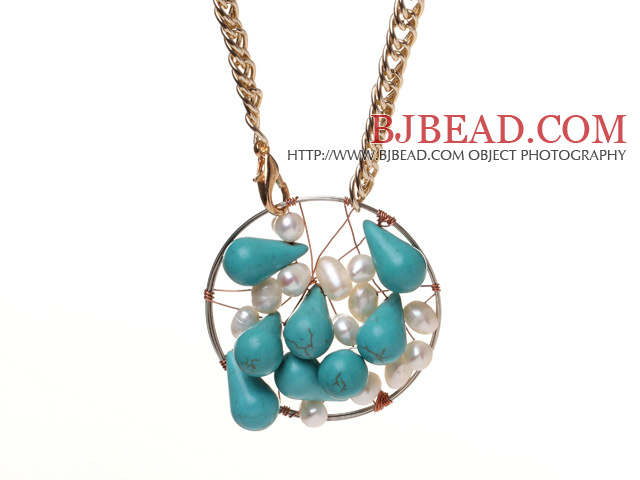 Fashion Wired Crochet Teardrop Greent Turquoise And White Freshwater Pearl Pendant Necklace With Nice Gold Loop Chain