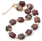 Fashion Natural White Freshwater Pearl And Square Rhodonite Strand Necklace With Gold Spacers