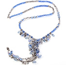 Lovely Faceted Gray And AB Blue Cluster Crystal Pendant Chain Necklace