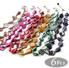 Nice 6 Pcs Multi Color Irregular Shell Beads Strand Necklace With Extendable Chain (Random Colors) under $ 40