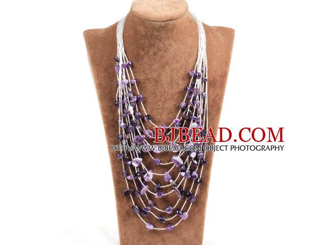 Graceful Multi Strand Irregular Shape Amethyst Party Necklace