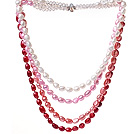 Fashion Multi Strands White Pink Red Baroque Freshwater Pearl And White Crystal Beads Necklace With Magnetic Clasp