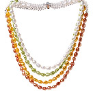 Fashion Multi Strands Multi Color Baroque Freshwater Pearl And White Crystal Beads Necklace With Magnetic Clasp