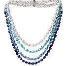 Nice Multi Strands White And Blue Series Baroque Freshwater Pearl And White Crystal Beads Necklace With Magnetic Clasp