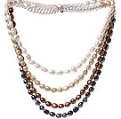 Nice Four Strands Multi Color Baroque Freshwater Pearl And White Crystal Beads Necklace With Magnetic Clasp