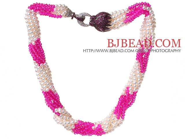 Multi Twisted Strands Natural 4-5mm White Freshwater Pearl And Rose Jade-Like Crystal Beads Necklace With Purple Leopard Rhinestone Clasp