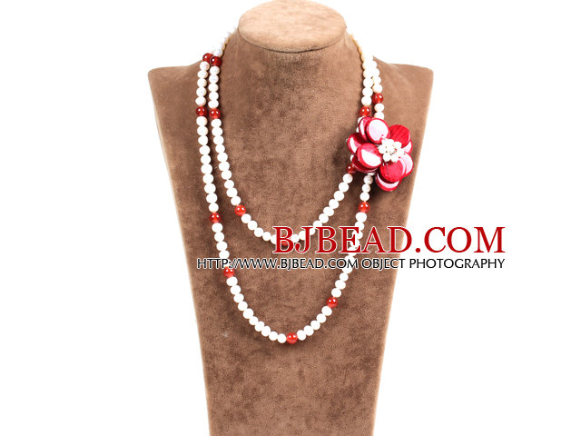 Fantastic Party Style Double Strand Natural White Freshwater Pearl Red Agate Beads Necklace with Red Shell Flower Charm