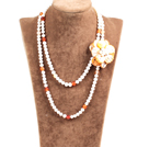 Fantastic Three Strands White Painted Nuclear And Freshwater Pearl Beads Necklace With Oval Clasp